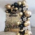 Blue Silver Macaron Birthday Balloon Garland Arch Kit Party Foil Metal Balon Weding Baby Shower Birthday Party Decor Kids Adults