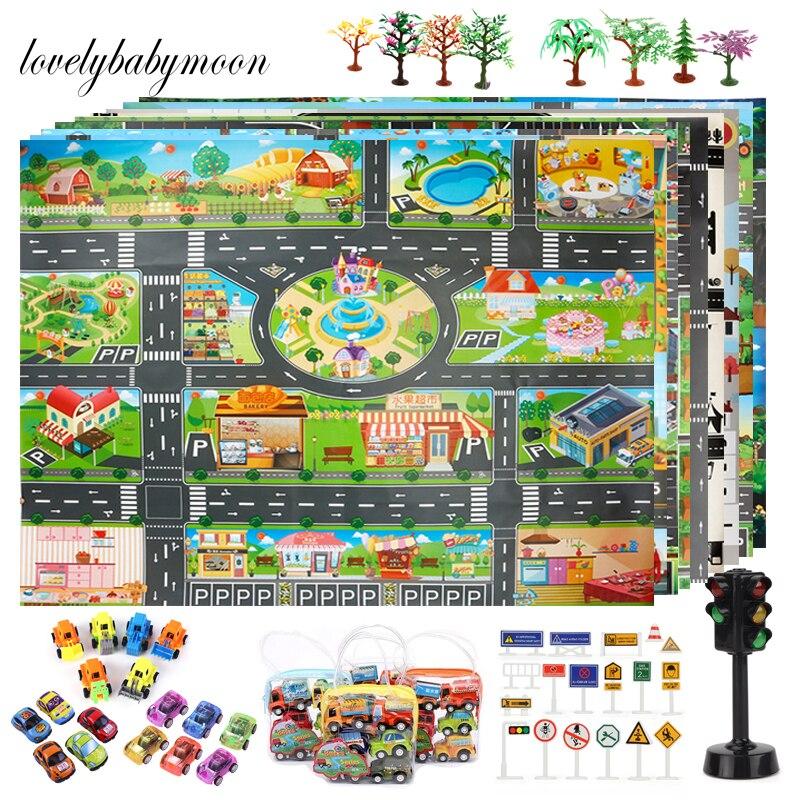 Дорожный Коврик для детей, игровой коврик, детская дорожная карта, игрушки для мальчиков и девочек, мультяшный коврик, городской коврик, игр...