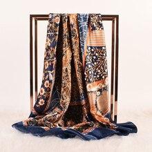 90*90cm Fashion Scarves Women Shawl Silk Satin Hijab Female Bandana Square Ladies foulard wrap pareo headcloth kerchief muffler