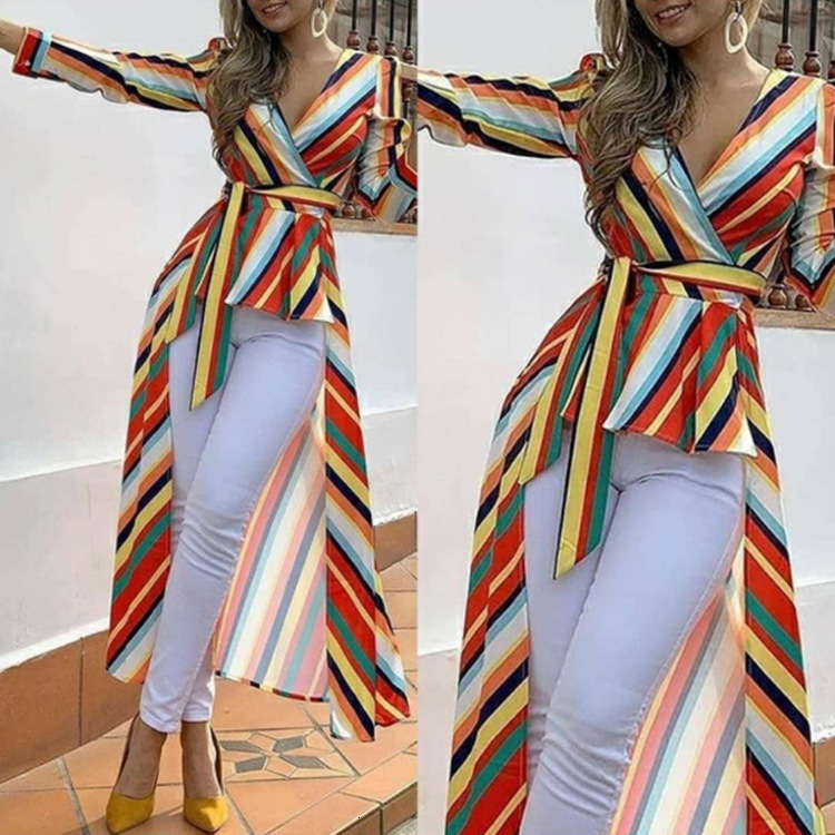 BacklakeGirls Rainbow Stripe Dress Sexy V Neck Full Sleeve Cut Out High Low Evening Dress Colorful Robe Long Coat Lange Jurken