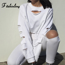 Fitshinling Cut Out Casual Sweatshirt Female Crop Top Fashion Solid White Women's Sweatshirts Sexy Athleisure Sudadera Mujer New