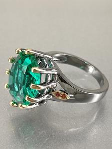 Dreamcarnival1989 Wedding-Ring Green Women Zirconia Bridal-Jewelry for Delicate Fine-Cut
