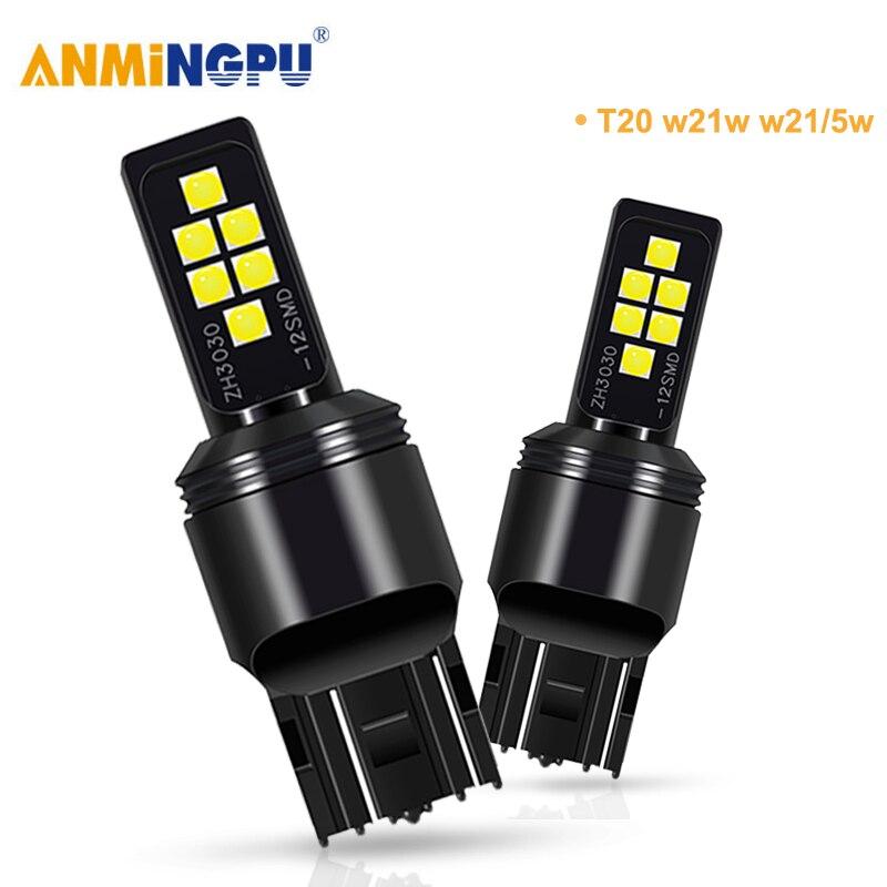 ANMINGPU 2x сигнальная лампа 7443 Led W21/5W T20 7440 W21W WY21W 3030SMD 3157 Светодиодная лампа T25 P27W P27/7W, фсветильник заднего хода s, стоп светильник