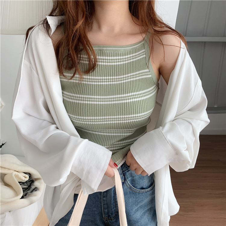 Simple Striped Casual Slim Elastic Basic Sleeveless Basic New Summer Female Women vest tops in Camisoles Tanks from Underwear Sleepwears