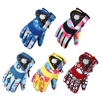 Водонепроницаемые зимние перчатки для катания на лыжах, сноуборде, теплые варежки для детей, перчатки с закрытыми пальцами, ремешок для зан...