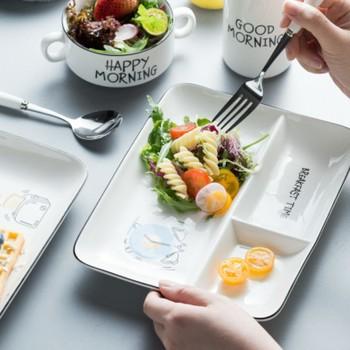 Nordic zestawy zastawy stołowej płyty oddzielające ceramiczne naczynia stołowe przekąski owocowe naczynia łyżka i zestaw widelców do naczyń kuchennych sztućce tanie i dobre opinie DEUAMO CN (pochodzenie) Geometryczny Wzór Snack Plates Rectangle dinnerware set tableware fruit dishes spoon and fork set