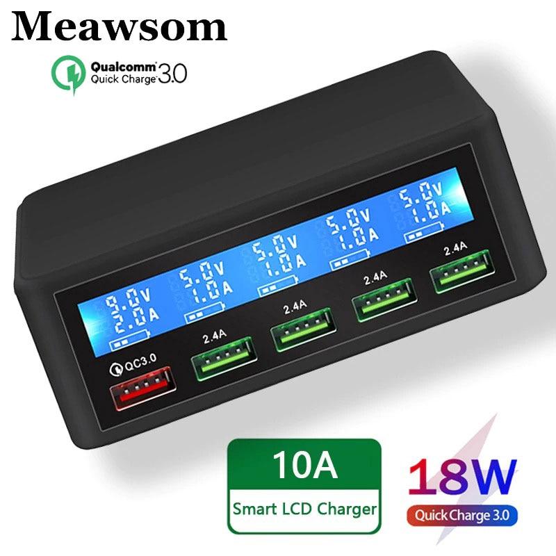 Meawsom-chargeur rapide USB 40W, 5 ports, affichage LED, Charge rapide 3.0, Station de Charge pour téléphone de bureau, périphérique USB