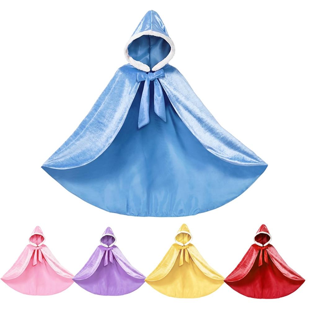 Elsa Blue Cloak For Girl Fall Winter Velvet Hooded Belle Yellow Purple Sleeping Beauty Pink Princess Sets
