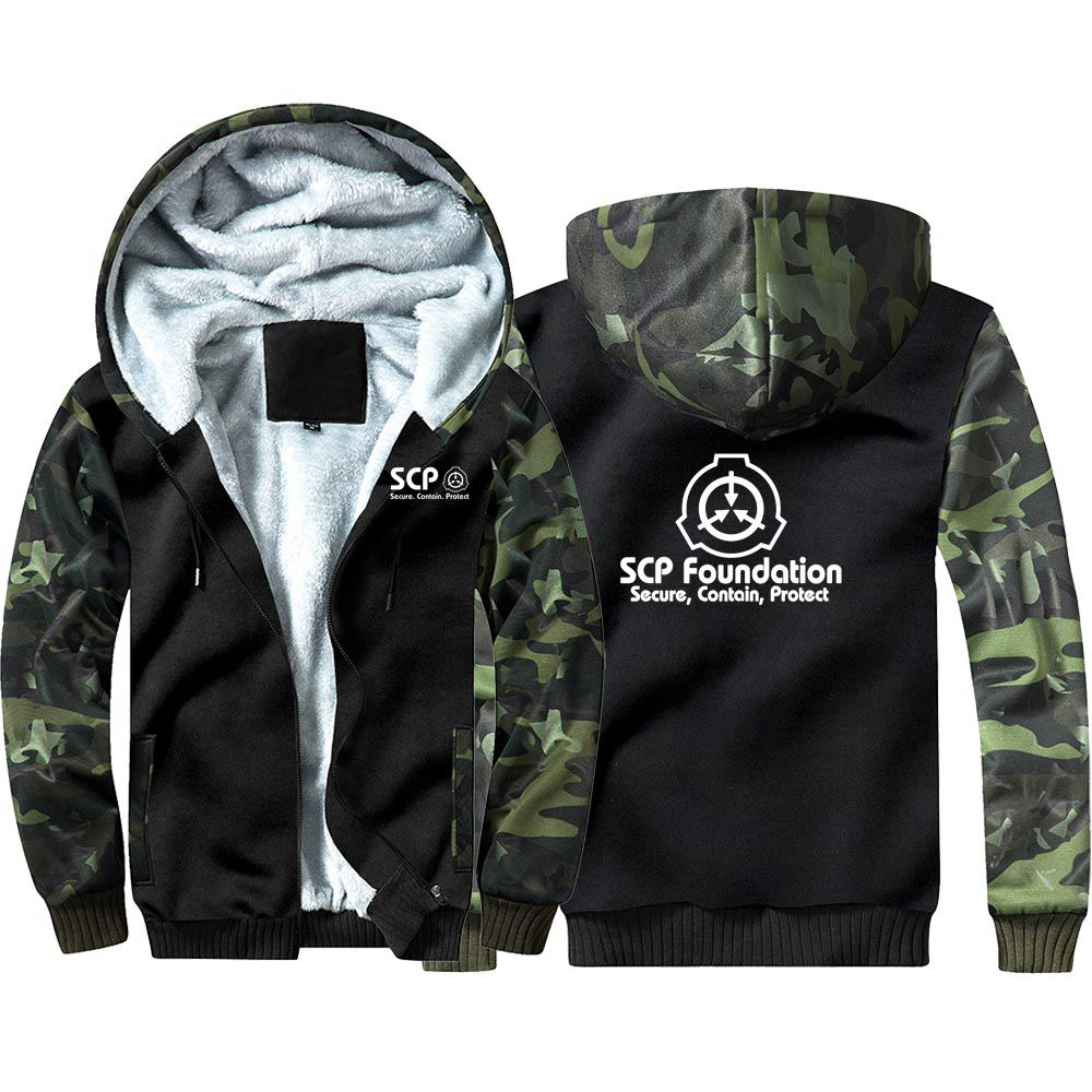 Secure Contain Protect SCP Camouflage Hoodie Sweatshirts Winter Thicken Hooded Coat Cosplay Costume Warm Men Women Clothing