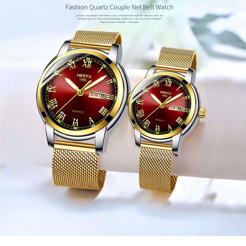2019 New NIBOSI Casual Mesh Belt Fashion Quartz Gold Watch Mens Watches Top Brand Luxury Women Watch Couple Relogio Masculino