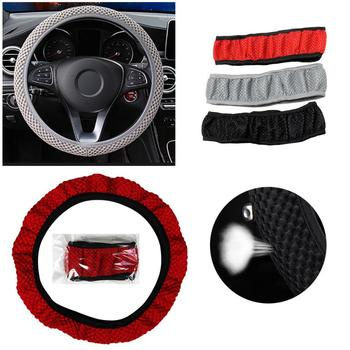 14-15 Inch Skidproof Durable Car Steering Wheel Cover Sandwich Fabric Handmade Breathability Auto Covers Fit For Most Cars image
