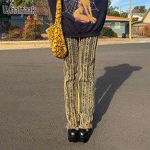 Waatfaak mujeres rasgado Jeans negro de encaje bajo cintura moda de calle Patchwork Pantalones vaqueros de pierna recta pantalones Y2K estética Baggy Harajuku