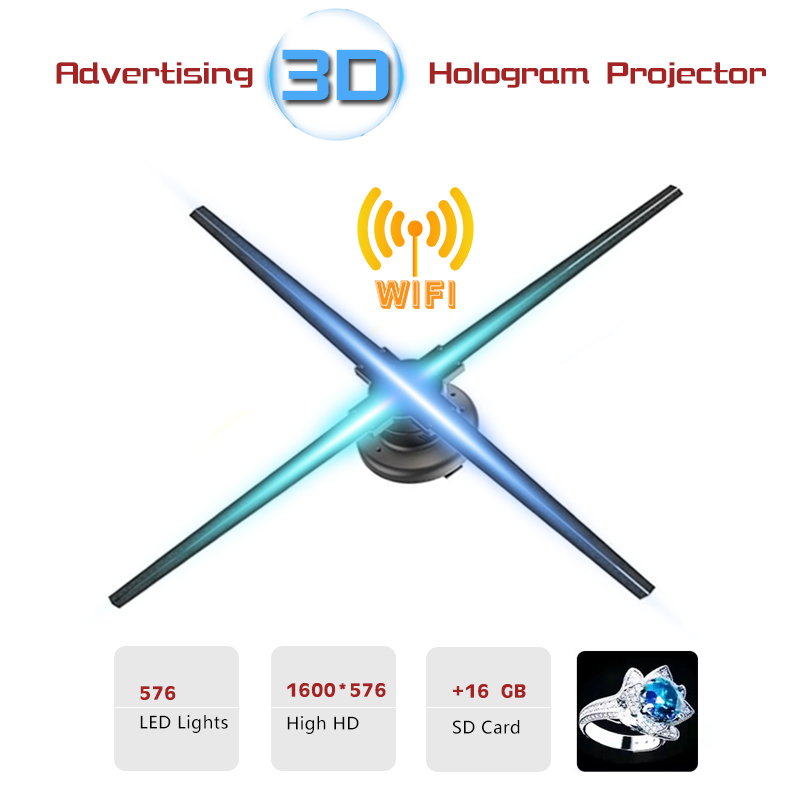 WIFI 3D hologram projector LED fan advertising attractive LED holographic light naked eye 3D LED display player store logo light