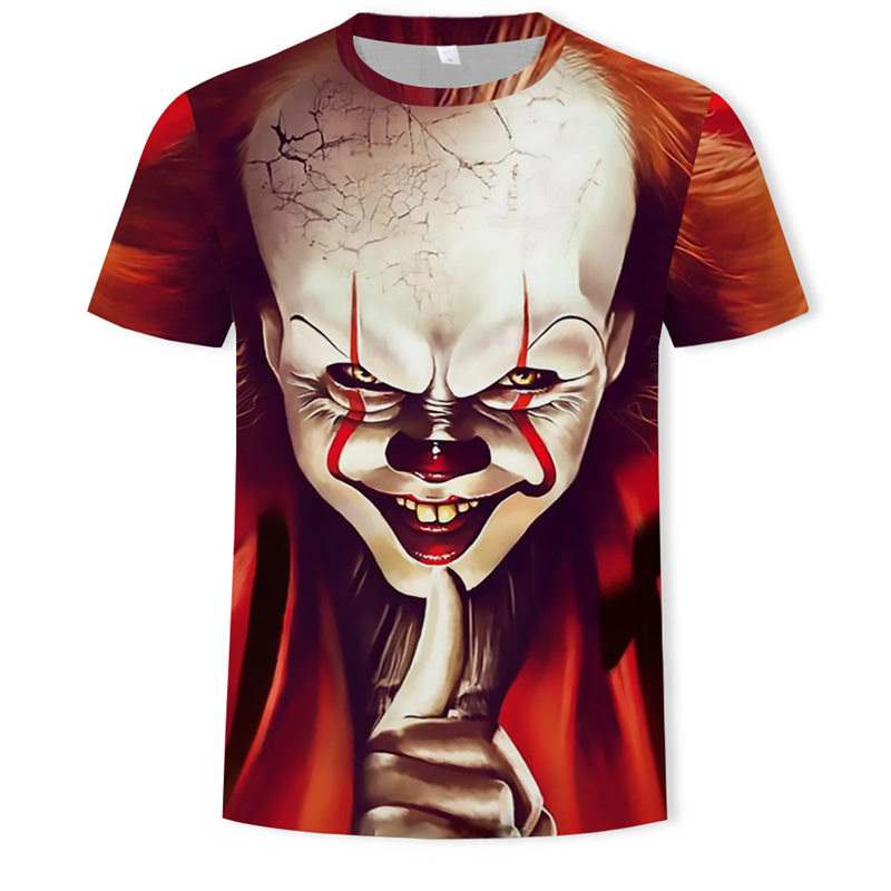 2019 new Halloween horror clown clothing punk style 3d short tops digital printing funny   t     shirt   streetwear Homme large size 5xl