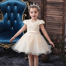 Vgiee Kids Party Dresses for Girls Wedding Birthday Girl Dress Princess Flowers Mesh Knee-Length Short Baby Clothes CC601