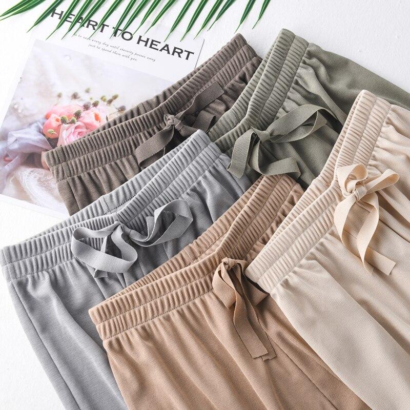 2019 New fashion   pants   women   wide     leg     pants   plus size women trousers women high waist   pants   Nine cargo   pants   women streetwear