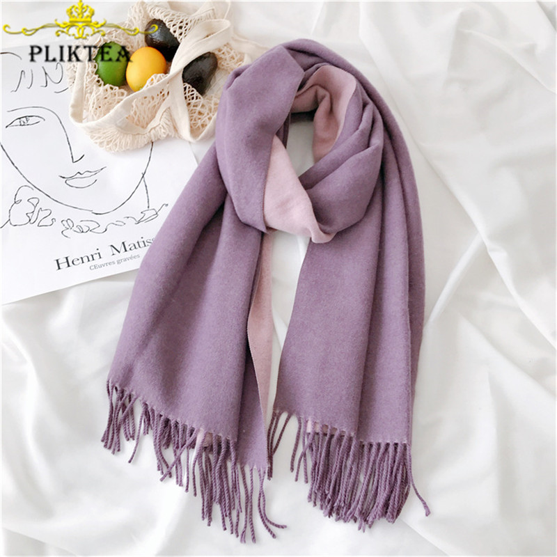 360g High Quality Solid Color Merino Wool Women's Winter Purple Poncho Cashmere Female Scarf Women's Shawl Thick Ladies Pashmina