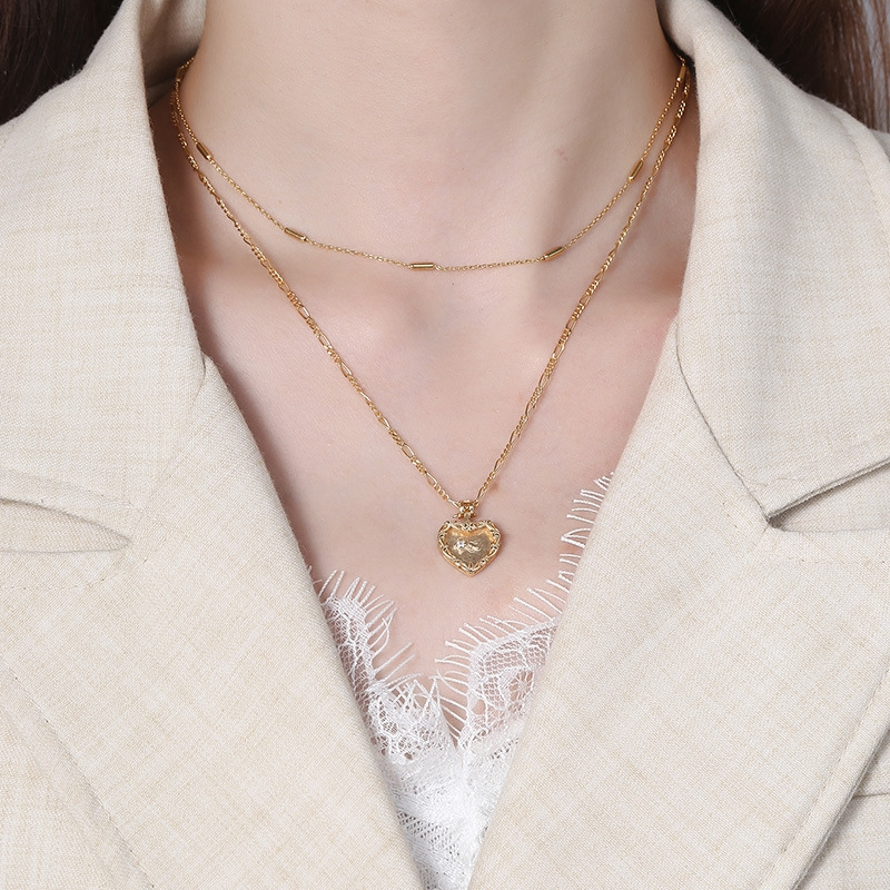 Silvology 925 Sterling Silver Heart Double Layer Necklace Gold Original Wreath Side Creative Pendant Necklace for Women Jewelry