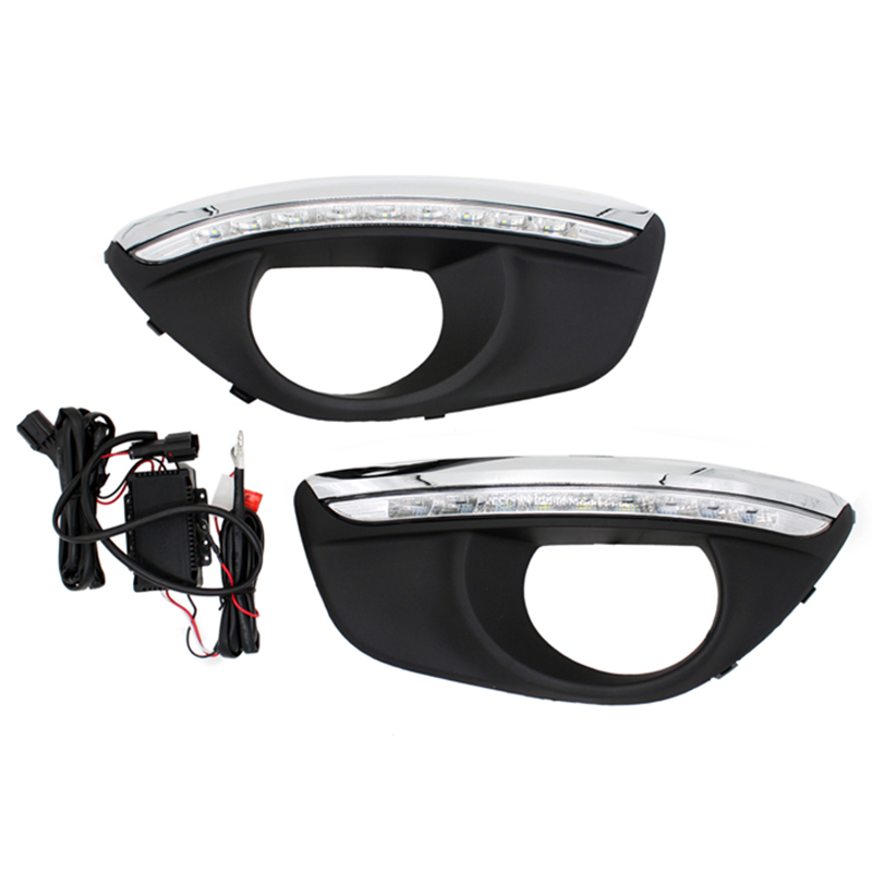 12V Led Car Drl Daytime Running Lights Accessories With Fog Lamp Hole For H-y-u-n-d-a-i <font><b>Santa</b></font> <font><b>Fe</b></font> <font><b>2010</b></font> 2011 2012 image