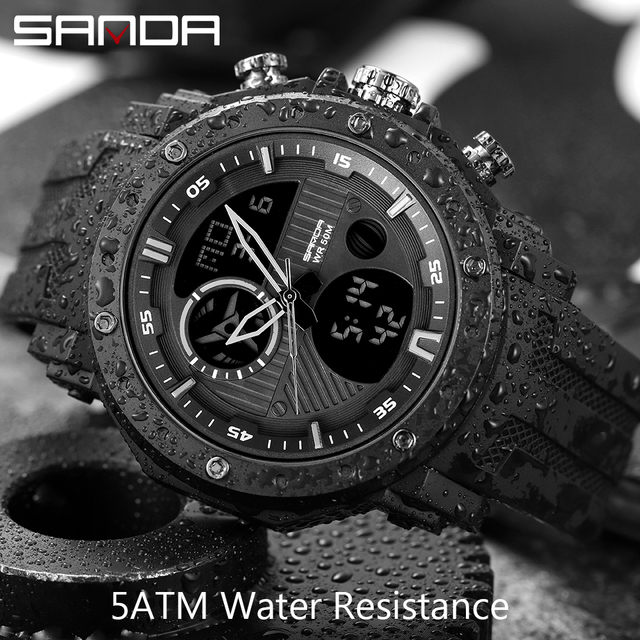 SANDA New Fashion Mens Watches Top Brand Luxury Military Quartz Watch 5ATM Waterproof Sport Chronograph Clock relogios masculino
