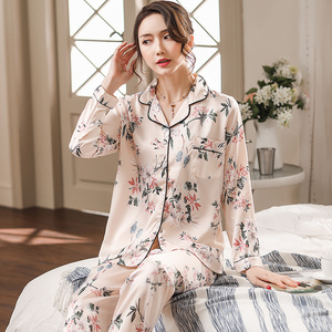 Image 2 - Silk Satin Pyjamas Women Flower Print Pajamas Sets 2019 Long Sleeve Spring Summer Sleepwear Elegant Pijama Mujer Female Nightsui