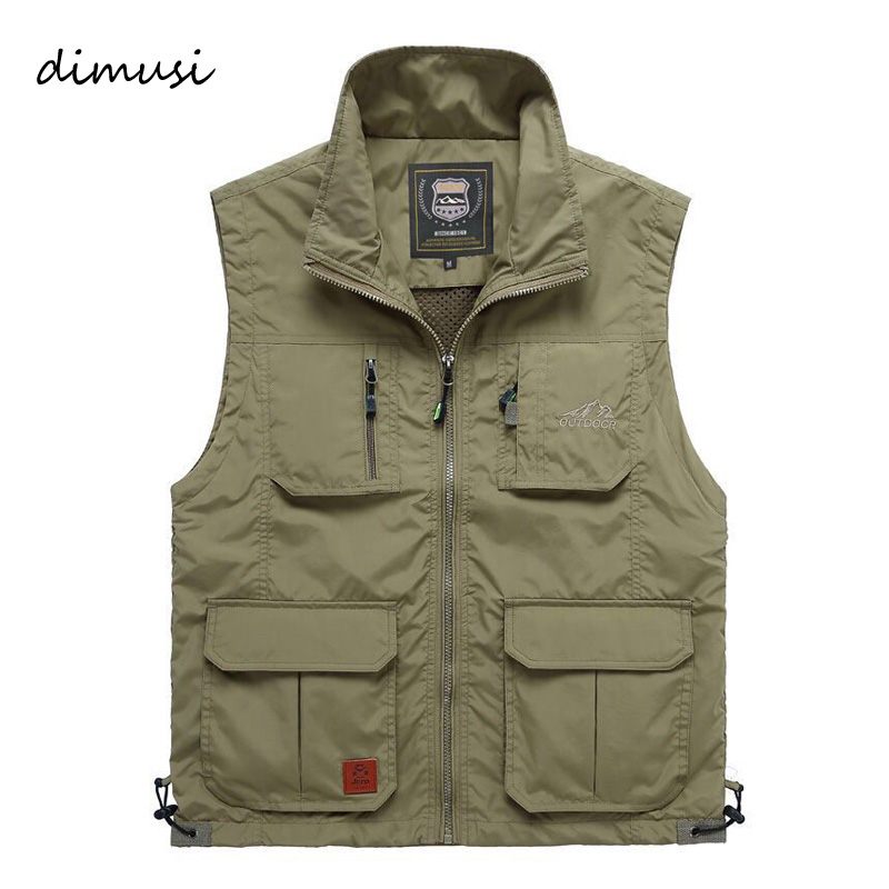 DIMUSI Mens Vests Quick Dry Breathable Multi Pocket Mesh Vest Sleeveless Jackets Man Outwear Fishing Waistcoats Brand Clothing