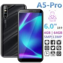 Teléfonos inteligentes originales A5 PRO 4G RAM 64G ROM 6,0 pulgadas Android reconocimiento facial desbloqueado 13MP teléfonos móviles P35 MINI