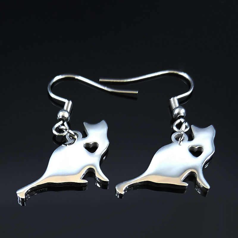2020 Cut Cat Edelstahl Ohrring Halskette Sets Frauen Kleine Silber Farbe Set Schmuck joyas set de aretes y kragen s178730