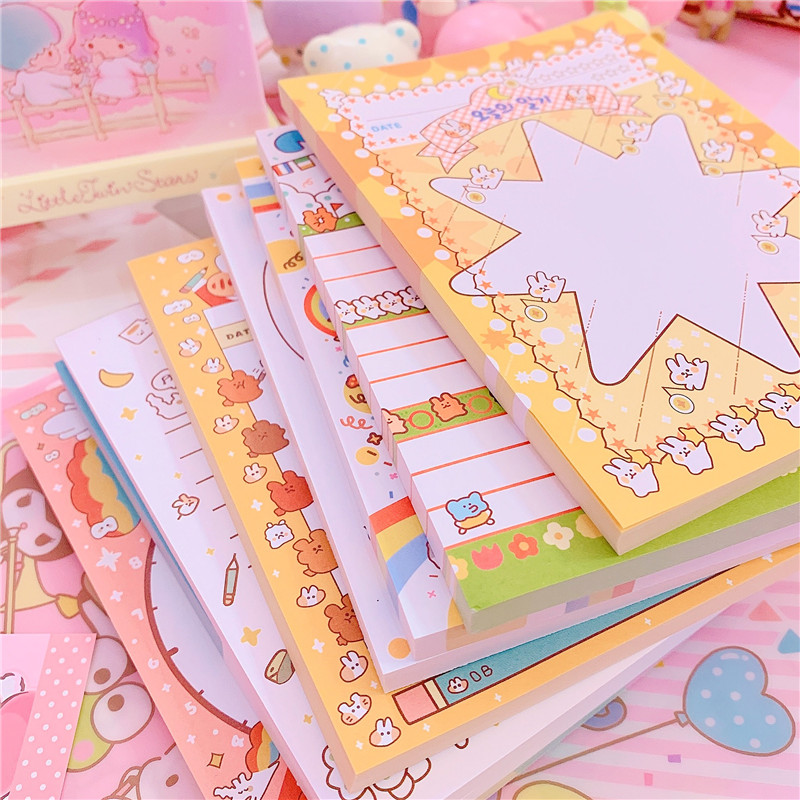 Large 80pcs Cute Lovely Rabbit Stars Girl Sticky Note Memo Pad Office Planner Sticker Paper Korean Stationery Notepad