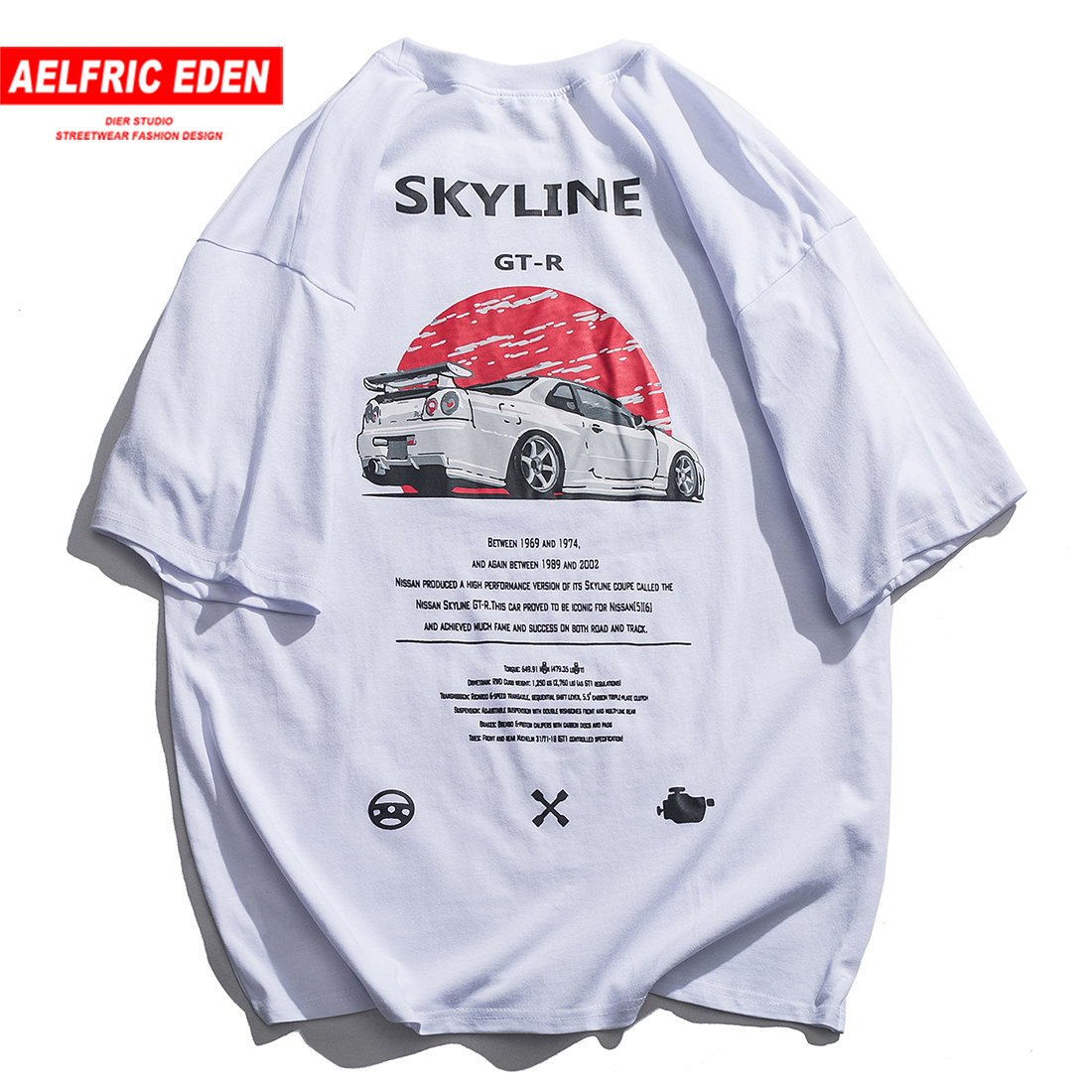 Aelfric Eden Harajuku T Shirt Men Letter Printed Cotton Vintage Hip Hop T-shirts Funny Summer Streetwear Short Sleeve Tees