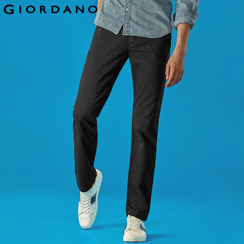 Giordano Men Pants Full Length Khaki Pants For Men Casual 100% Cotton Pantalones Hombre Mid Low Rise Calca Masculina