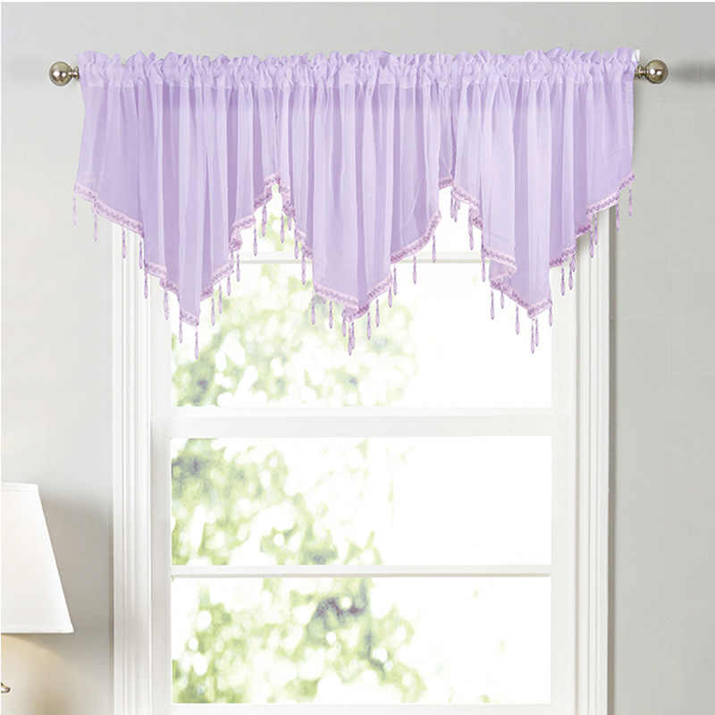 white elegant short curtains valance for kitchen living room 1 piece rod pocket pelmet window drapes beaded decoration door