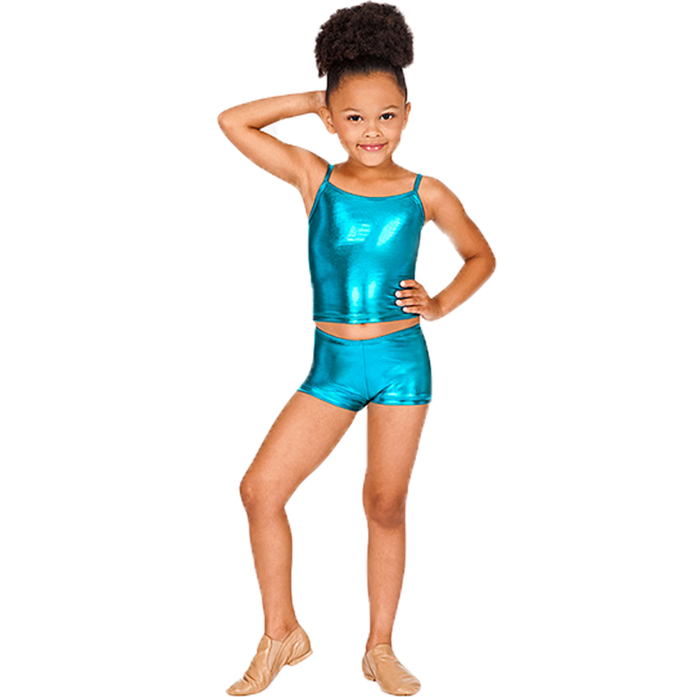 Girls Spandex Metallic Dance Shorts Low Waisted Team Competition Shorts For Children Shorts
