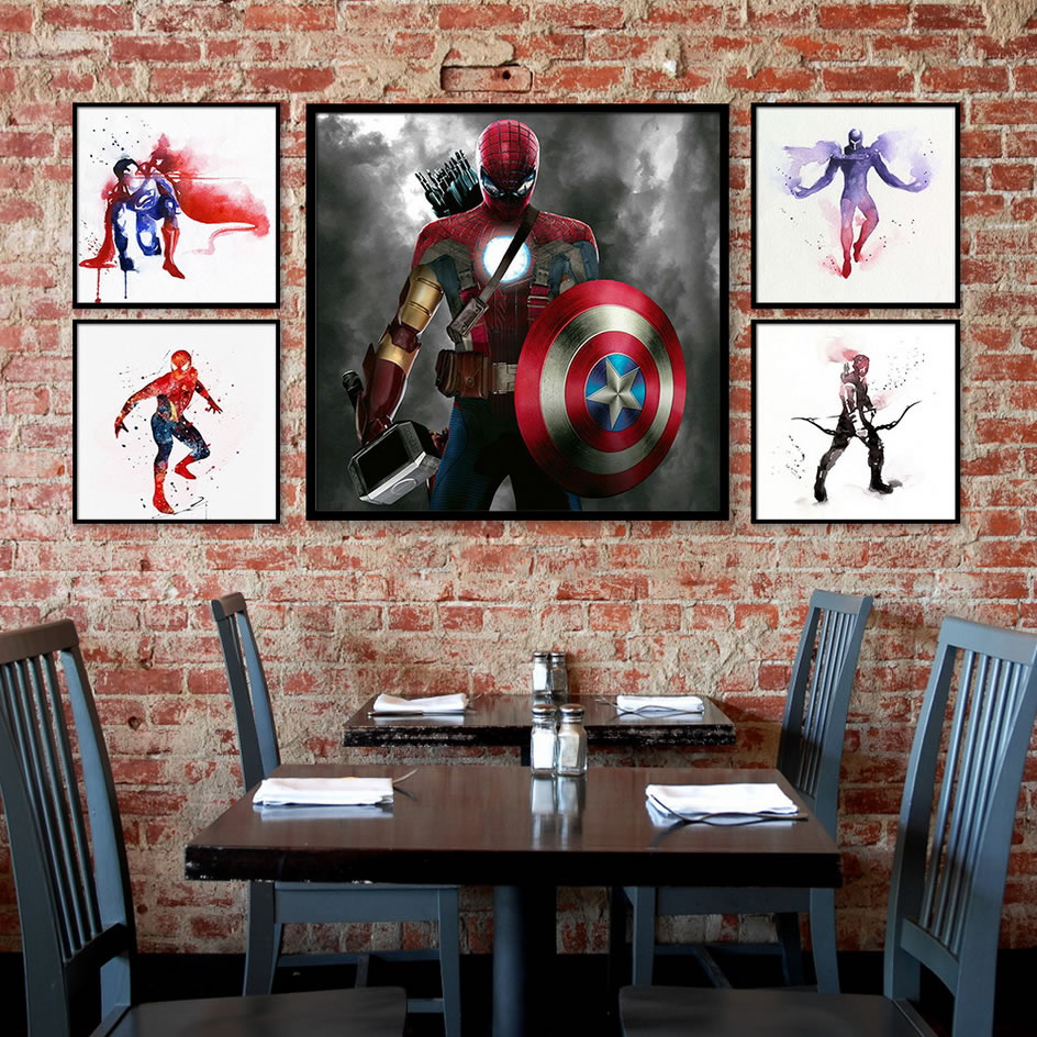 Superheros Marvel Dc Movie Posters And Prints Iron Man Spiderman Wall Art Canvas Painting Superman Deadpool Decoration Pictures image