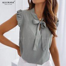 Blusa de manga corta con lazo y lunares para verano, camisa Vintage con volantes para mujer, blusas con lazo, tapas atractivas para mujer