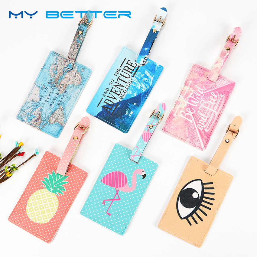 Cartoon Animal Flamingo Luggage Tag Travel Accessories PU Leather Suitcase ID Address Holder Creative Luggage Tag Portable Label