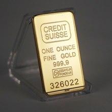 Não magnético 1oz ouro chapeado crédito em camadas barra de lingotes suíça barra de lingotes de crédito arte moderna moeda comemorativa metal