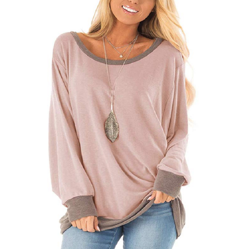 Photno Womens Casual Loose Patchwork Long Sleeve Blouse with Pocket Plus Size Round Neck T Shirt Tunic Tops
