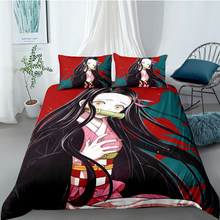 3D Japanese Anime Cartoon Character Printed Demon Slayer Bedding Set Queen King Size For Adults Boy Gift With Pillowcases