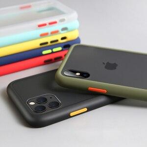 Image 2 - Luxus Stoßfest Fall auf Für iPhone 12 11 Pro Max mini Silikon Transluzenten Matte Telefon Abdeckung Für iPhone X XS XR 7 8 Plus Fällen