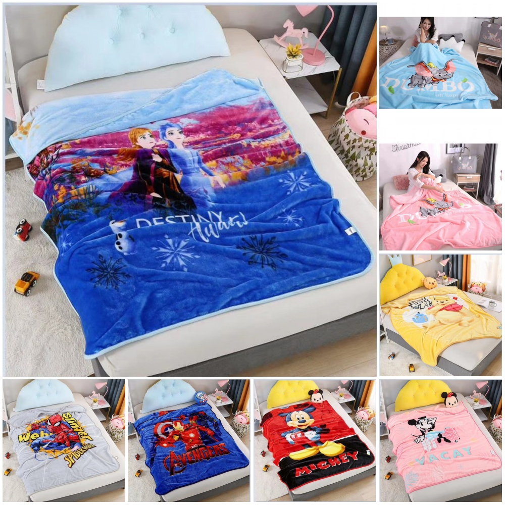 Disney Cartoon Frozen Minnie Mickey Mouse Spidwerman Children Blanket Thick Flannel 150x200cm Baby Boys Girls Gift Bed Cover