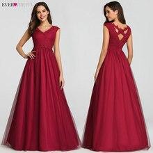 빈티지 이브닝 드레스 오랫동안 예쁜 a 라인 v 넥 민소매 레이스 섹시한 이브닝 가운 EZ07799BD Robe de Soiree