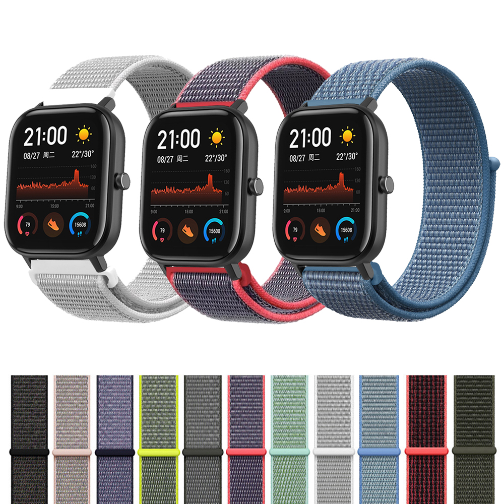 Wrist <font><b>Strap</b></font> For Xiaomi Huami Amazfit <font><b>GTS</b></font> Smart <font><b>Watch</b></font> Woven Nylon Loop Band Bracelet for Amazfit GTR 42mm/Bip lite Watchband <font><b>20mm</b></font> image