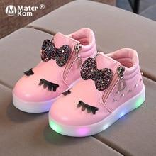 Rozmiar 21-30 dzieci świecące tenisówki dzieciak księżniczka łuk dla dziewczynek buty LED śliczne dziecięce trampki z lekkimi butami Krasovki Luminous
