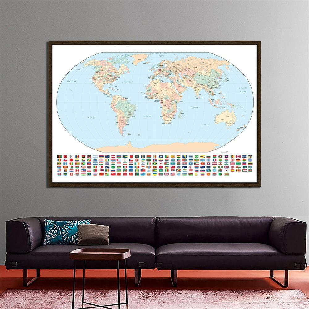 Regular World Map Non-woven Inkjet Map With National Flags For Culture And Education 150x225cm