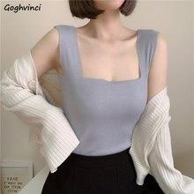 Kamizelki kobiety lato Knitting kwadratowy dekolt stałe koreański styl Slim 4 kolor bezrękawniki Top kobiet cały mecz kamizelka Trendy