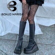 BONJOMARISA de moda botas de plataforma de tacón grueso cuñas media pantorrilla botas de mujer casual de marca de fondo grueso zapatos de invierno Mujer