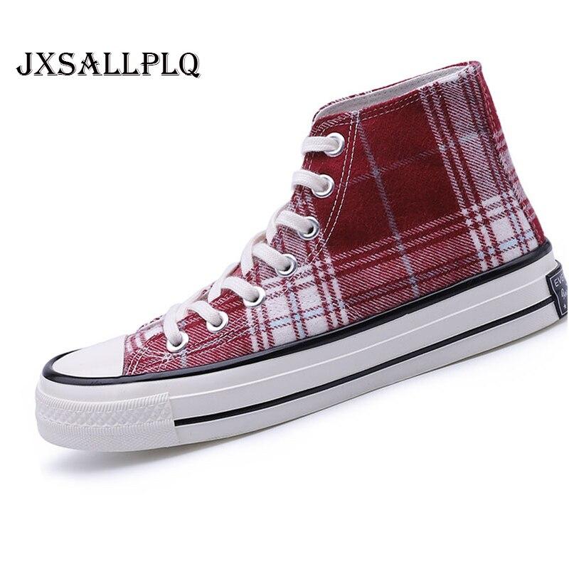 Moda novos sapatos masculinos vulcanizados sapatos clássicos xadrez sapatos de lona alta 2019 unisex sapatos casuais leves