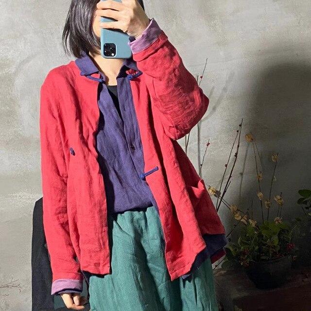 Women linen Spring Autumn Solid COlor Simple Blouse shirt Tops Ladies Vintage Irregular Length Flax Shirt Tops 2020 2