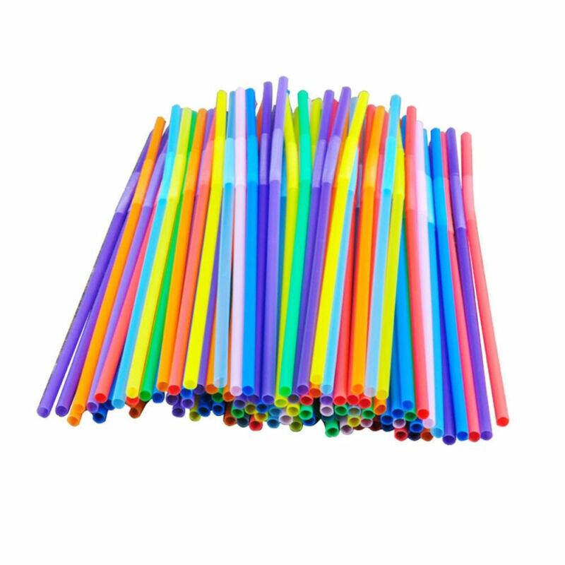 100 шт Красочные удлиненные гибкие вечерние соломинки Disposabl